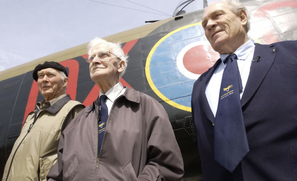 """Left to right: Fred Sutherland, """"Johnnie"""" Johnson, Ray Grayston. Pictured at East Kirkby, 2002."""